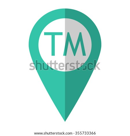 Trademark symbol - vector icon;  green map pointer - stock vector
