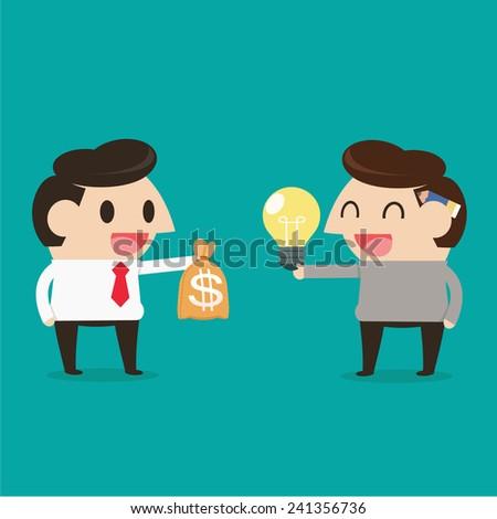 Trading between idea and money - stock vector