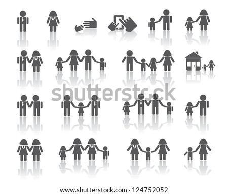 Traditional and LGBT Family Icons - stock vector