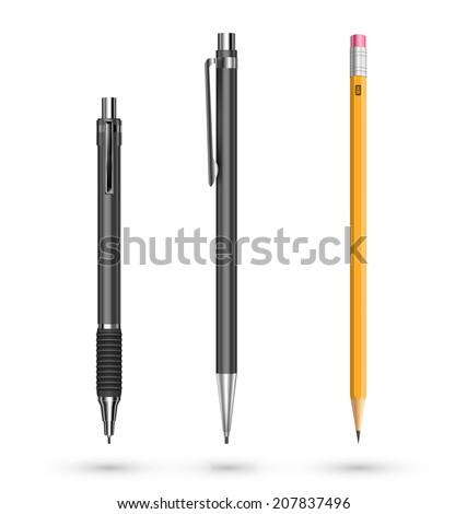Traditional and mechanical pencils on white background - stock vector