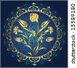 Traditional antique ottoman turkish tile vector design - stock vector