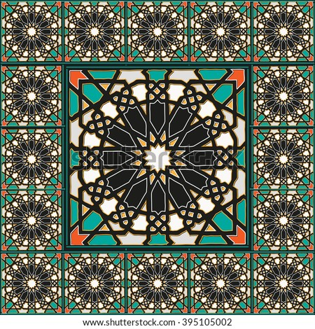 Traditional arabic mosaic decoration - stock vector