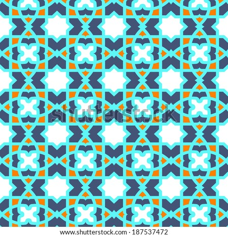 traditional arabic ornament, seamless swatch element included - stock vector