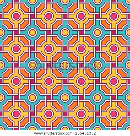 Traditional arabic tangled pattern. Seamless vector background.  Plain colors, easy to recolor. - stock vector