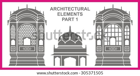 Traditional Architectural Elements Stock Vector 305371505