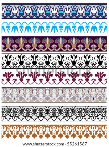 Traditional architectural ornament and stencil set for design - stock vector