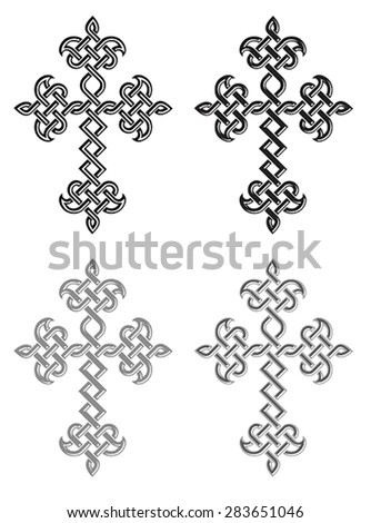 Traditional Armenian Apostolic Church plaited crosses set. Vector illustration - stock vector