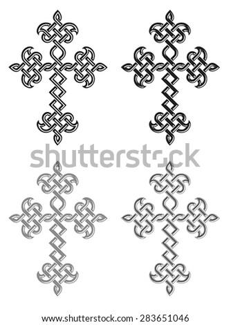 Traditional Armenian Apostolic Church plaited crosses set. Vector illustration - stock vector