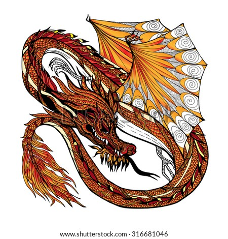 Traditional asian dragon isolated on white background hand drawn colored vector illustration - stock vector