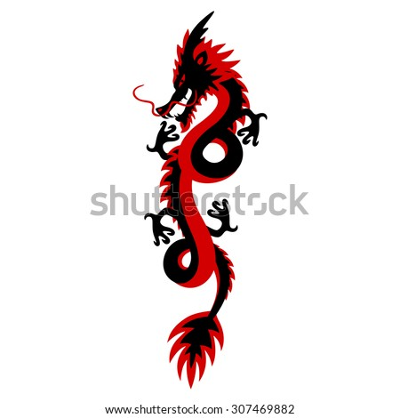 Traditional Asian red and black dragon. Mythological creature. Power symbol. Stylized illustration. Vector. - stock vector