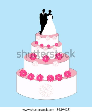traditional bird and groom wedding cake vector