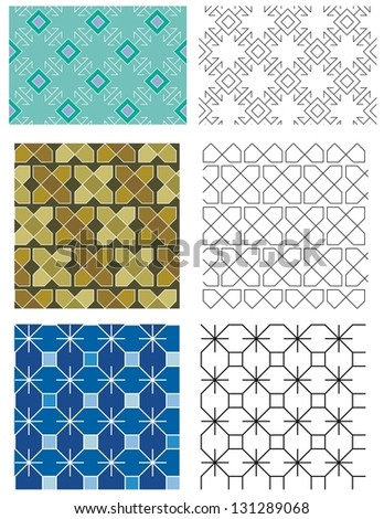 Traditional Blackwork Embroidery Designs Seamless Patterns Stock