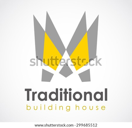 Traditional building property abstract vector logo design template business real estate icon company house identity for corporate symbol concept - stock vector