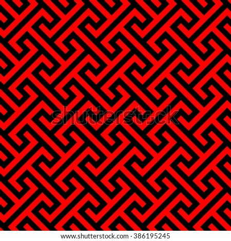 Traditional Chinese Pattern Seamless Asian Texture In Red And Black Vector Illustration