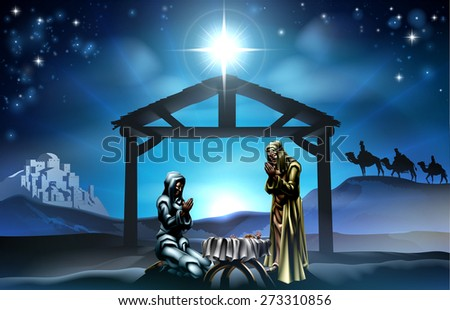 Traditional Christian Christmas Nativity Scene of baby Jesus in the manger with Mary and Joseph in silhouette and wise men in the distance with the city of Bethlehem