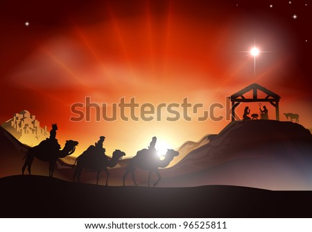 Traditional Christian Christmas Nativity scene with the three wise men - stock vector