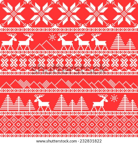 Traditional christmas knitted ornamental pattern with deer. Vector background - stock vector