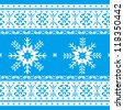 Traditional christmas knitted ornamental pattern with snowflakes blue and white - stock vector