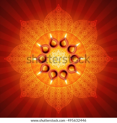 Traditional Diwali Lamps on Lotus Design Background