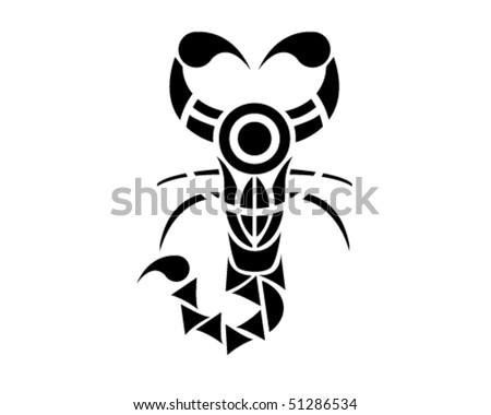 Traditional Egypt Scorpio, tribal vector illustration . - stock vector