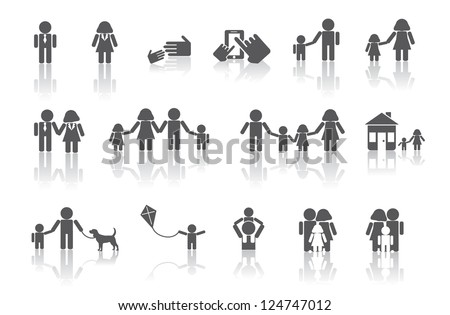 Traditional Family Icon Symbol Set No open shapes or paths, grouped for easy editing. - stock vector