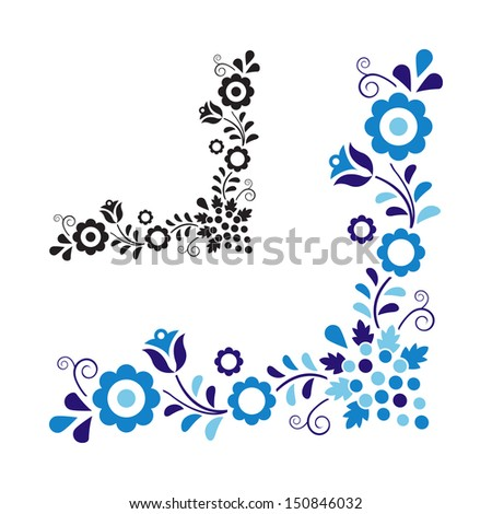 Traditional folk ornament isolated on white background - stock vector