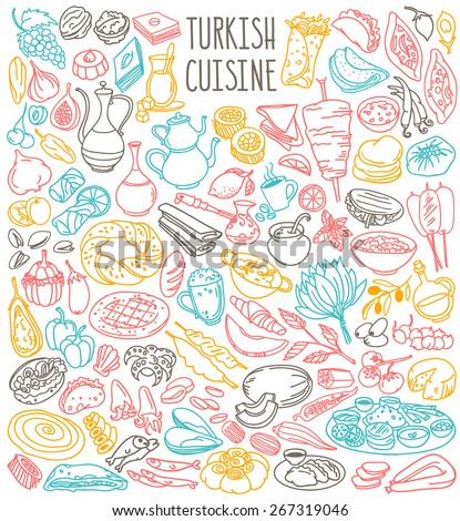Traditional food and beverages of Turkish cuisine. Common ingredients, main and side dishes, fruits, desserts, bread, drinks. Freehand vector doodles isolated on white background - stock vector