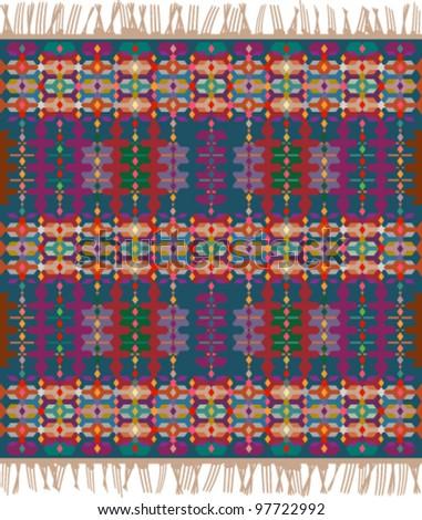 traditional geometrical carpet - stock vector