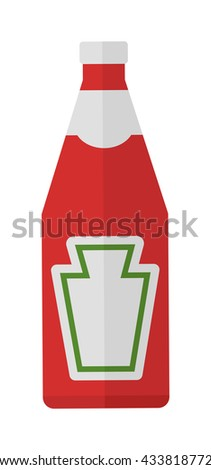 Traditional glass tomato ketchup bottle isolated on white background and ketchup flat vector illustration. Ketchup food tomato red sauce and ketchup glass spice container. Organic healthy hot spice. - stock vector