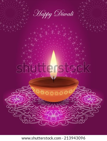 Traditional Glowing Diwali Lamp on Decorative Fireworks Background - stock vector