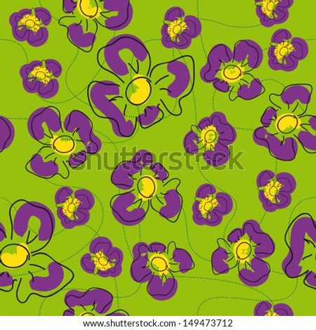 traditional handmade folk seamless floral background with irises for textile design,  and high quality print - stock vector
