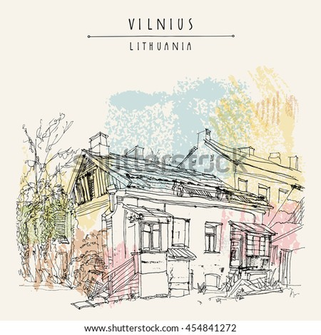 Traditional house in Vilnius old town, Lithuania, Europe. Travel sketch. Vintage artwork. Hand drawn artistic postcard or poster template, touristic calendar or book illustration in vector