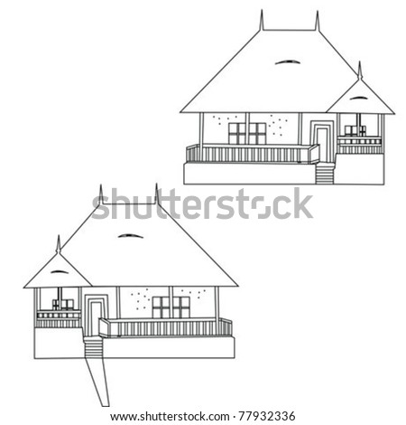 traditional house vector - stock vector