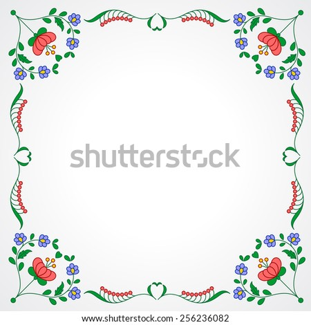 Traditional Hungarian embroidery frame with floral patterns - stock vector