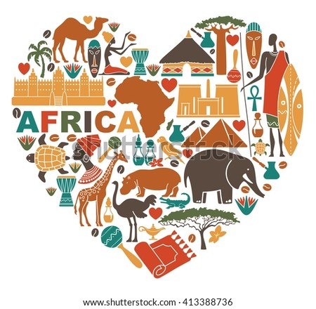 Traditional icons of Africa in the shape of a heart - stock vector