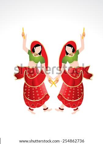 Traditional Indian girl playing dandiya vector illustration  - stock vector