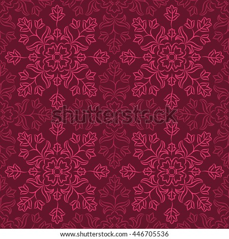 Traditional Indian pattern with pink and purple floral elements on dark purple background. Oriental decorative motifs. Vector seamless repeat.