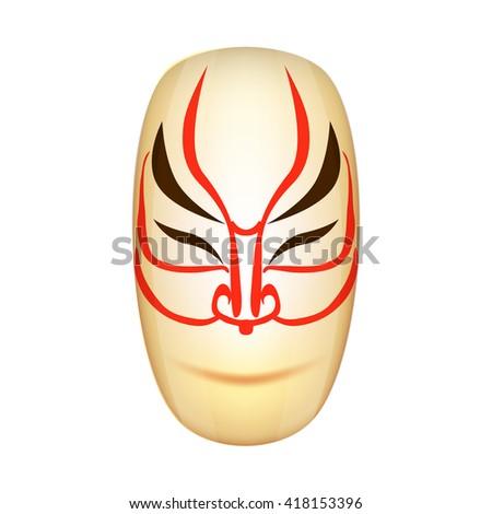 Traditional Japan Mask Kabuki Vector Illustration EPS10 - stock vector