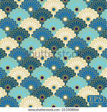 Traditional japanese flower pattern - stock vector