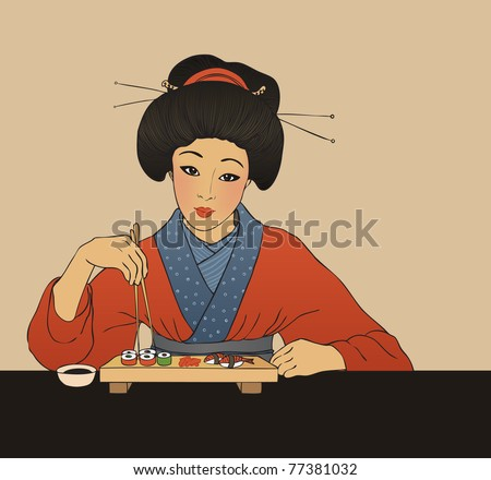 Traditional japanese girl enjoy sushi. Vector illustration. - stock vector