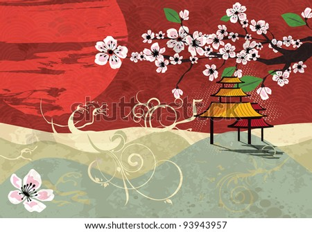 Traditional Japanese landscape with sunset and cherry blossom, vector - stock vector