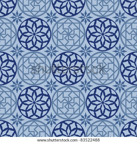 traditional Japanese seamless patterns with geometric and nature themes. - stock vector