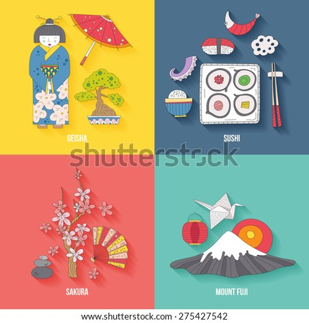 Traditional japanese symbols. Asian vector graphic elements. Travel concept. Handdrawn artistic illustration. Japan culture concept.  - stock vector