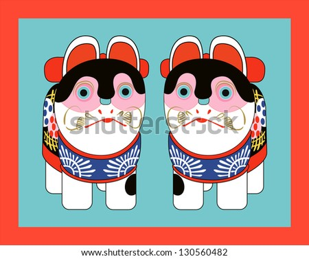 traditional Japanese toy cat figurines - stock vector