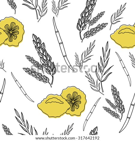 Traditional Jewish Holiday Sukkot. Hand drawn Sukkot symbols. Four species - etrog, willow, palm, myrtle. Seamless vector pattern.  - stock vector