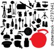 traditional kitchen tools set - stock vector