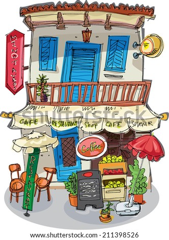 traditional mediterranean building with shop, restaurant and apartments - cartoon - stock vector