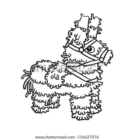 traditional mexican brightly pinata black and white sketch style vector illustration isolated on white background