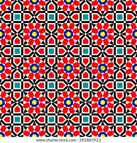 Traditional Middle Eastern Colorful Vector Islamic Art Ornaments Pattern - stock vector