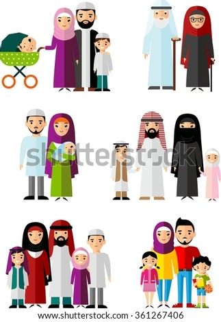 Traditional muslim family with children and maturity  Set of vector  illustration arab  family in national clothes  - stock vector